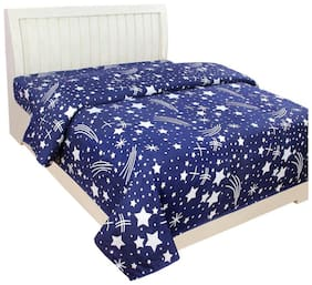 Supreme Home Collective Microfiber Printed Single Bedsheet ( 1 Bedsheet without Pillow Cover , Blue )