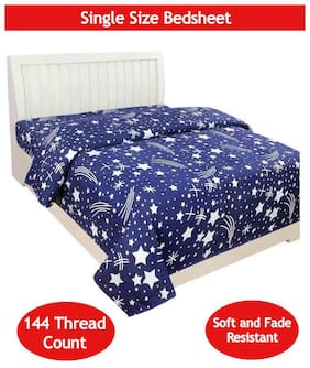 Supreme Home Collective Microfibre Printed Single Size Bedsheet 144 TC ( 1 Bedsheet Without Pillow Covers , Blue )