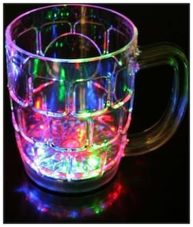 Supreme Home Collective LED Flashing 7 Different Color Changing Liquid Activated For Parties & Gifting Glass Mug (350 ml)