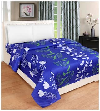 Supreme Home Collective Microfiber Printed Single Size Bedsheet 144 TC ( 1 Bedsheet Without Pillow Covers , Blue )