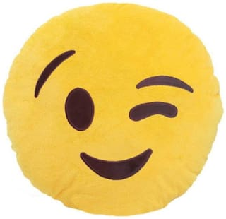 Supreme Home Collective Smiley Printed Decorative Cushion Pack of 1  (Yellow)