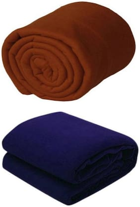 Supreme Home Collective (Single) Brown, Navy Polar Blanket For AC Room, Traveling Purpose ( Set of 2 )