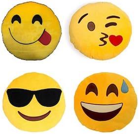 Supreme Home Collective Emoji Printed Decorative Cushion Set of 4  (Yellow)