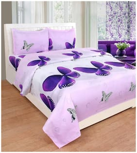 Supreme Home Collective Microfiber Printed Double Size Bedsheet 144 TC ( 1 Bedsheet With 2 Pillow Covers , Purple )