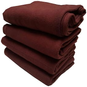 Supreme Home Collective (Double) Brown Polar Blanket For AC Room, Traveling Purpose ( Set of 4 )