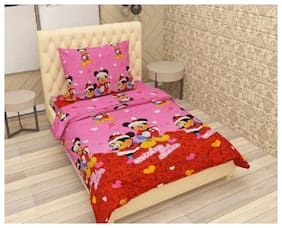 Supreme Home Collective Microfiber Printed Single Size Bedsheet 104 TC ( 1 Bedsheet With 1 Pillow Covers , Pink )