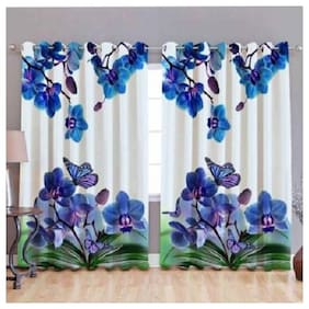Supreme Home Collective Polyester Door Semi Transparent Blue Shower Curtain ( Eyelet Closure , Floral , Pack of 2 )