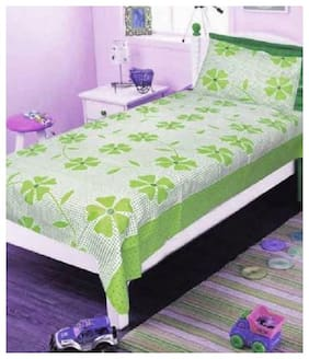 Supreme Home Collective Microfiber Printed Single Size Bedsheet 144 TC ( 1 Bedsheet With 1 Pillow Covers , Green )