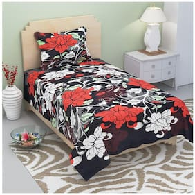 Supreme Home Collective Microfiber Floral Single Size Bedsheet 104 TC ( 1 Bedsheet With 1 Pillow Covers , Black )
