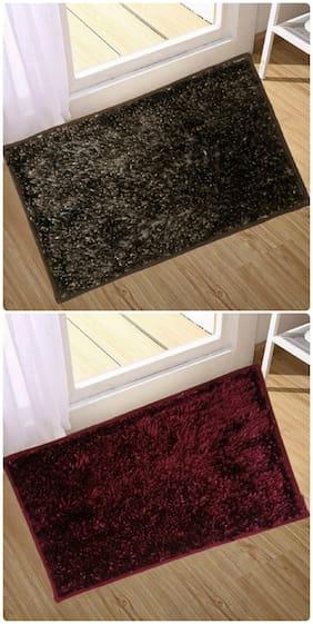 Supreme Home Collective  Microfiber Door Mat  (Brown, Maroon)