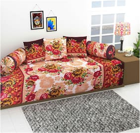 Supreme Home Collective Poly cotton Floral Single Size Diwan Sets - Pack of 6