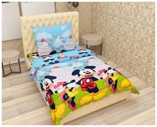 Supreme Home Collective Microfiber Printed Single Size Bedsheet 144 TC ( 1 Bedsheet With 1 Pillow Covers , Multi )