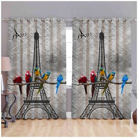 Supreme Home Collective Polyester Door Semi Transparent Multi Shower Curtain ( Eyelet Closure , Printed , Pack of 2 )