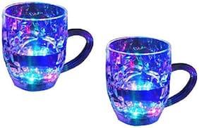 Supreme Home Collective Rainbow Magic Multi-Color Flashing LED Drinking Glass Glass Mug (350 ml Set of 2)