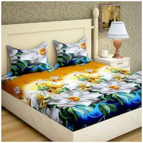 Supreme Home Collective Microfibre Floral Double Size Bedsheet 144 TC ( 1 Bedsheet With 2 Pillow Covers , Blue )