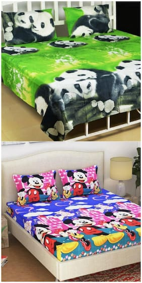Supreme Home Collective Cartoon,Animal 2 Double Bed-sheets with 4 Pillow Covers