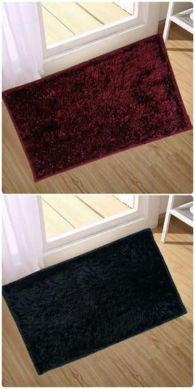 Supreme Home Collective  Microfiber Door Mat  (Maroon, Black)