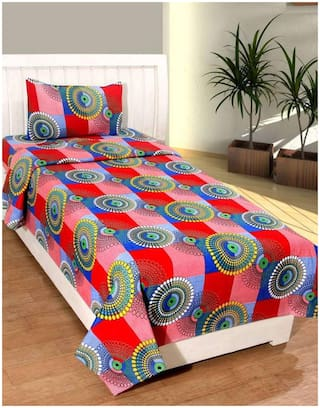 Supreme Home Collective Microfiber Printed Single Size Bedsheet 104 TC ( 1 Bedsheet With 1 Pillow Covers , Red )