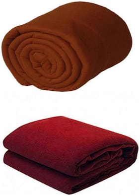 Supreme Home Collective (Single) Brown, Maroon Polar Blanket For AC Room, Traveling Purpose ( Set of 2 )