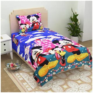 Supreme Home Collective Microfibre Kids Single Size Bedsheet 144 TC ( 1 Bedsheet With 1 Pillow Covers , Blue )