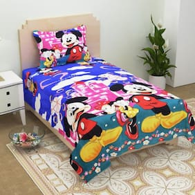 Supreme Home Collective Cartoon 1 Single Bed-sheet with 1 Pillow Cover