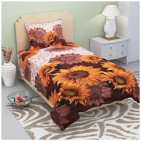 Supreme Home Collective Microfiber Floral Single Size Bedsheet 144 TC ( 1 Bedsheet With 1 Pillow Covers , Brown )