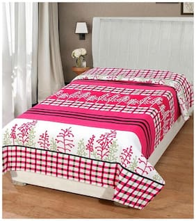 Supreme Home Collective Microfiber Printed Single Size Bedsheet 144 TC ( 1 Bedsheet Without Pillow Covers , Pink )