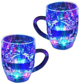 Supreme Home Collective LED Flashing 7 Different Color Changing Liquid Activated For Parties & Gifting Glass Mug 350 ml (Set of 2)