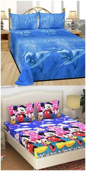 Supreme Home Collective Animal & Cartoon 2 Double Bed-sheets with 4 Pillow Covers