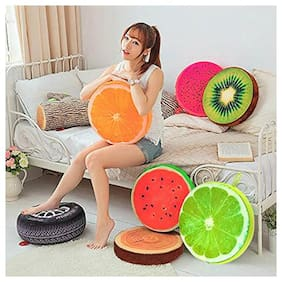 Supreme Home Collective Fruit Chair Seat Sofa Back Stuffed Cushion For Home Decor Office Plush Throw Pillow ( Pack of 5 Different Cushions)