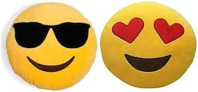 Supreme Home Collective Smiley Printed Decorative Cushion Pack of 2  (Yellow)
