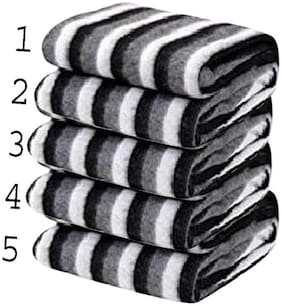 Supreme Home Collective (Double) Black:White, Polar Blanket For AC Room, Traveling Purpose ( Set of 5 )