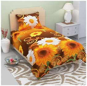 Supreme Home Collective Microfiber Floral Single Size Bedsheet 144 TC ( 1 Bedsheet With 1 Pillow Covers , Yellow )