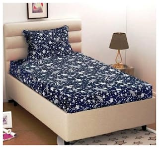 Supreme Home Collective Microfiber Printed Single Size Bedsheet 104 TC ( 1 Bedsheet With 1 Pillow Covers , Blue )