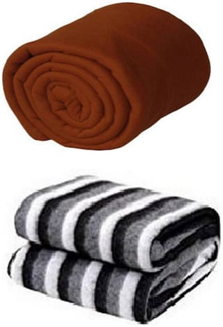 Supreme Home Collective (Single) Brown, Black:White Polar Blanket For AC Room, Traveling Purpose ( Set of 2 )