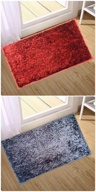Supreme Home Collective  Microfiber Door Mat  (Red, Grey)