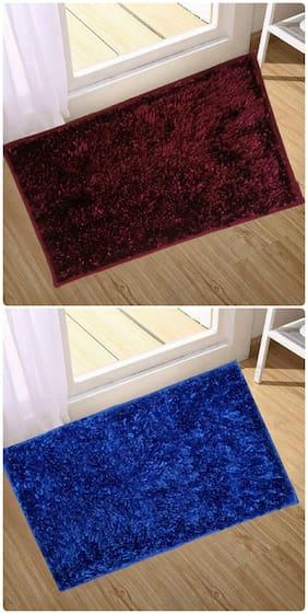 Supreme Home Collective  Microfiber Door Mat  (Maroon, Blue)