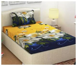 Supreme Home Collective Microfiber Printed Single Size Bedsheet 104 TC ( 1 Bedsheet With 1 Pillow Covers , Yellow )