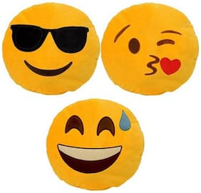 Supreme Home Collective Smiley Printed Decorative Cushion Set of 3  (Yellow)
