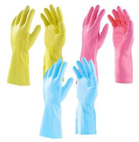 Surf Household Cleaning Flocklined Non-slip Grip Hand Gloves -(3 Pair)