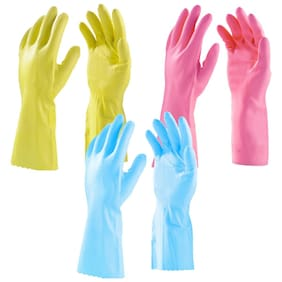 Surf Household Cleaning Flocklined Non-slip Grip Hand Gloves -(6 Pair)