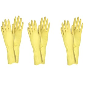 Surf Yellow Rubber Hand Gloves- Set of 3