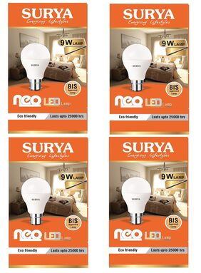 Surya Neo Base B22 9-Watt LED Bulb (Pack of 4, Cool Day Light)