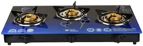 Surya Aksh 3 Burners MS Powder Coated Body & MS Powder Coated With Glass Top Gas Stove - Blue , Auto Ignition