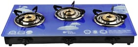 Surya Aksh 3 Burners MS Powder Coated Body Gas Stove - Blue , Auto Ignition