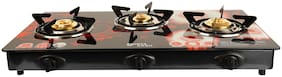 Surya Aksh 3 Burners MS Powder Coated With Glass Top Gas Stove - Red & White , Auto Ignition