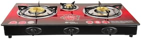 Surya Aksh 3 Burners MS Powder Coated With Glass Top Gas Stove - Red , Auto Ignition
