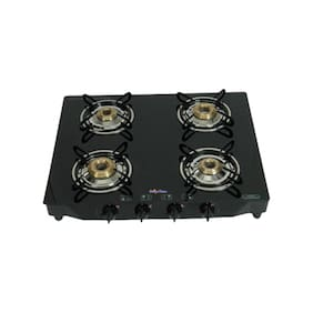 Surya Flame 4 Burners Gas Stove - Black