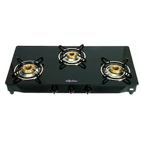 Surya Flame 3 Burners Regular Gas Stove - Black , Auto Ignition