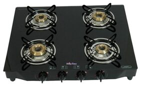 Surya Flame 4 Burner Black Auto Ignition Gas Cooktop